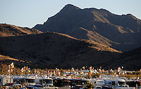 Apr 17, 2009; Avondale, AZ, USA; NASCAR Nationwide Series fans fly banners in the motorhome parking lot during the Bashas Supermarkets 200 at Phoenix International Raceway. Mandatory Credit: Mark J. Rebilas-