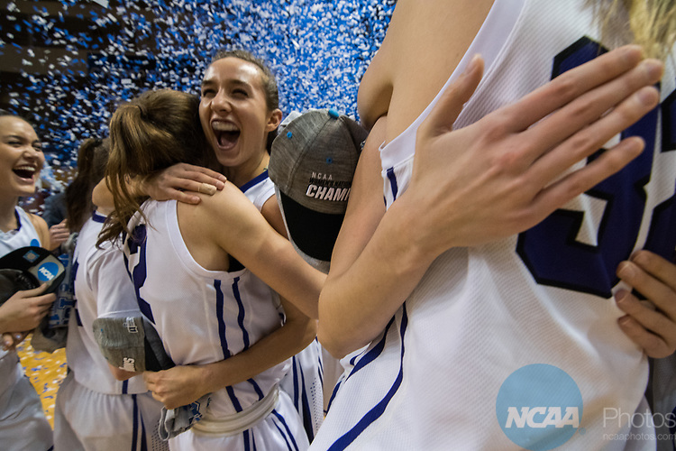 GRAND RAPIDS, MI - MARCH 18: Amherst College celebrates their win during the Division III Women's Basketball Championship held at Van Noord Arena on March 18, 2017 in Grand Rapids, Michigan. Amherst College defeated Tufts University 52-29 for the national title. (Photo by Brady Kenniston/NCAA Photos via Getty Images)
