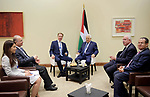 Palestinian President Mahmoud Abbas meets with the the Norwegian Foreign Minister at the Dead Sea, Jordan April 6, 2019. Photo by Thaer Ganaim