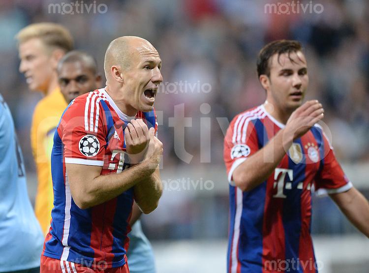 FUSSBALL   CHAMPIONS LEAGUE   SAISON 2014/2015   Vorrunde FC Bayern Muenchen - Manchester City       17.09.2014 Arjen Robben (FC Bayern Muenchen) ist nicht mit einer Schiedsrichterentscheidung einverstanden