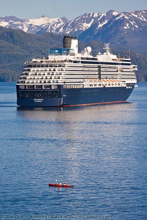 Kayaker and Holland America cruise ship Oosterdam, in Sitka Sound, Sitka, southeast, Alaska.