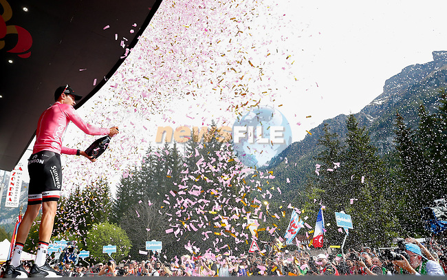 Race leader Tom Dumoulin (NED) Team Sunweb retains the Maglia Rosa at the end of Stage 17 of the 100th edition of the Giro d'Italia 2017, running 219km from Tirano to Canazei, Italy. 24th May 2017.<br /> Picture: LaPresse/Simone Spada | Cyclefile<br /> <br /> <br /> All photos usage must carry mandatory copyright credit (&copy; Cyclefile | LaPresse/Simone Spada)