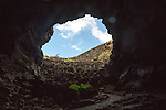 Entrance Cueva de Los Verdes, cave tourist attraction in lava pipe tunnel, Lanzarote, Canary Islands, Spain