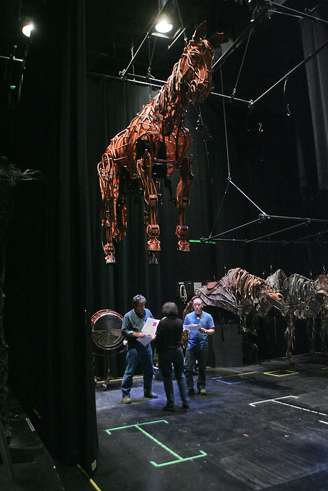 "Backstage pre-show preparation by technical crew at The National Theatre production of ""War Horse"", a blend of storytelling and puppetry set during Britain's entry into the first World War.  Vivian Beaumont Theater.  Photo by Ari Mintz.  3/25/2011."