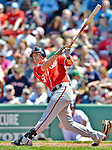 10 June 2012: Washington Nationals fielder Tyler Moore in action against the Boston Red Sox at Fenway Park in Boston, MA. The Nationals defeated the Red Sox 4-3 to sweep their 3-game interleague series. Mandatory Credit: Ed Wolfstein Photo