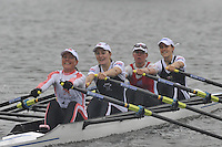 Henley, GREAT BRITAIN, Final, Princess Grace Challenge Cup,  Wallingford RC and Reading University, Bow Sophie HOSKING, Laura GREENLHALGH, Andres DENNIS and Jane HALL. 2008 Henley Royal Regatta, on  Sunday, 06/07/2008,  Henley on Thames. ENGLAND. [Mandatory Credit:  Peter SPURRIER / Intersport Images] Rowing Courses, Henley Reach, Henley, ENGLAND . HRR