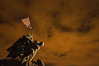 Night photograph of the Iwo Jima Memorial in Washington DC