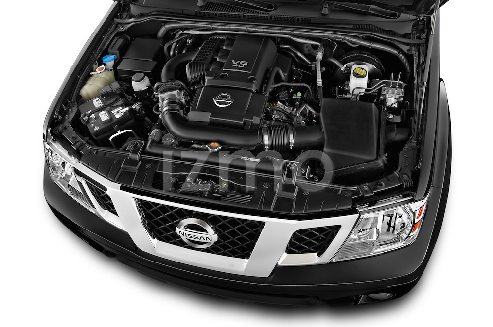 Car Stock 2016 Nissan Frontier SV 4 Door Pick-up Engine  high angle detail view