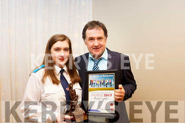 Ciara Lynch of Caherlaheen with her father who received a Special Distinction award at the Kerry Garda Lee Strand Youth Achievements Awards held in the Ballyroe Heights Hotel on Friday night last.