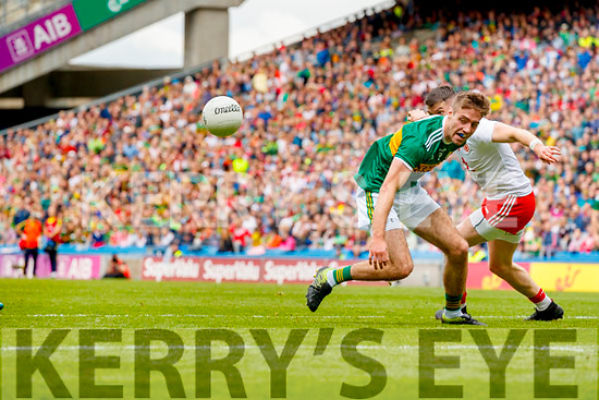 Adrian Spillane, Kerry in action against Richard Donnelly, Tyrone during the All Ireland Senior Football Semi Final between Kerry and Tyrone at Croke Park, Dublin on Sunday.