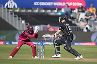 James Neesham (New Zealand) goes down the wicket, misses and is stumped by Shai Hope (West Indies) during West Indies vs New Zealand, ICC World Cup Warm-Up Match Cricket at the Bristol County Ground on 28th May 2019