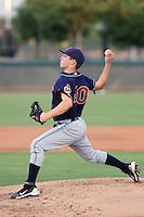 Jake Sisco #40 of the AZL Indians plays against the AZL Dodgers in an Arizona League game at the Dodgers complex on July 9, 2011 in Glendale, Arizona. (Bill Mitchell/Four Seam Images)