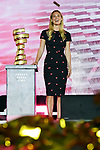 Bar Rafaeli brings the Trofeo Senza Fine on stage at the Team Presentation before the 101st edition of the Giro d'Italia 2018. Jerusalem, Israel. 3rd May 2018.<br /> Picture: LaPresse/Gian Mattia D'Alberto | Cyclefile<br /> <br /> <br /> All photos usage must carry mandatory copyright credit (&copy; Cyclefile | LaPresse/Gian Mattia D'Alberto)