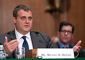 Michael R. Bright testifies before the United States Senate Committee on Banking, Housing and Urban Affairs on his nomination to be President, Government National Mortgage Association (or Ginnie Mae) on Capitol Hill in Washington, DC on Tuesday, July 24, 2018.<br /> Credit: Ron Sachs / CNP