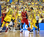 19.06.2019, Mercedes Benz Arena, Berlin, GER, 1.BBL, ALBA ERLIN vs.  FC Bayern Muenchen, <br /> im Bild Peyton Siva (ALBA Berlin #3), Rokas Giedraitis (ALBA Berlin #31), Luke Sikma (ALBA Berlin #43),<br /> Nihad Djedovic (FC Bayern Muenchen #14)<br /> <br />      <br /> Foto © nordphoto / Engler