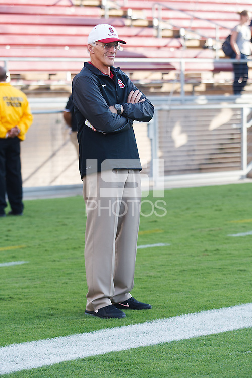 Stanford-October 10, 2014: Randy Hart, coach, before the Stanford vs. Washington State game Friday night at Stanford Stadium.<br /> <br /> The Cardinal defeated the Cougars 34-17.