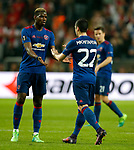 Henrikh Mkhitaryan of Manchester United shakes hands with Paul Pogba during the UEFA Europa League Final match at the Friends Arena, Stockholm. Picture date: May 24th, 2017.Picture credit should read: Matt McNulty/Sportimage