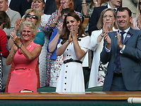 Catherine, Duchess of Cambridge applauds Serena Williams and Giulia Gatto-Monticone as they leave centre court<br /> <br /> Photographer Rob Newell/CameraSport<br /> <br /> Wimbledon Lawn Tennis Championships - Day 2 - Tuesday 2nd July 2019 -  All England Lawn Tennis and Croquet Club - Wimbledon - London - England<br /> <br /> World Copyright © 2019 CameraSport. All rights reserved. 43 Linden Ave. Countesthorpe. Leicester. England. LE8 5PG - Tel: +44 (0) 116 277 4147 - admin@camerasport.com - www.camerasport.com