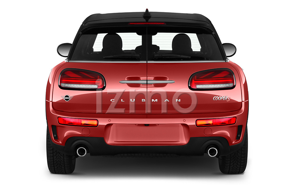 Straight rear view of a 2020 Mini Clubman S 5 Door Wagon stock images