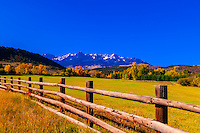 Double RL Ranch near Ridgway, Colorado USA with the Sneffels Range in the San Juan Mountains in the background.