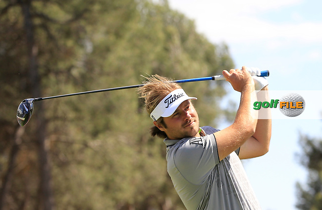 Victor Dubuisson (FRA) on the 9th tee during Round 2 of the Open de Espana  in Club de Golf el Prat, Barcelona on Friday 15th May 2015.<br /> Picture:  Thos Caffrey / www.golffile.ie