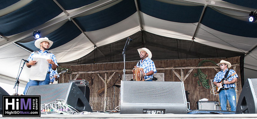 Jefferey Broussard performs at the 2014 Jazz and Heritage Festival in New Orleans, LA.