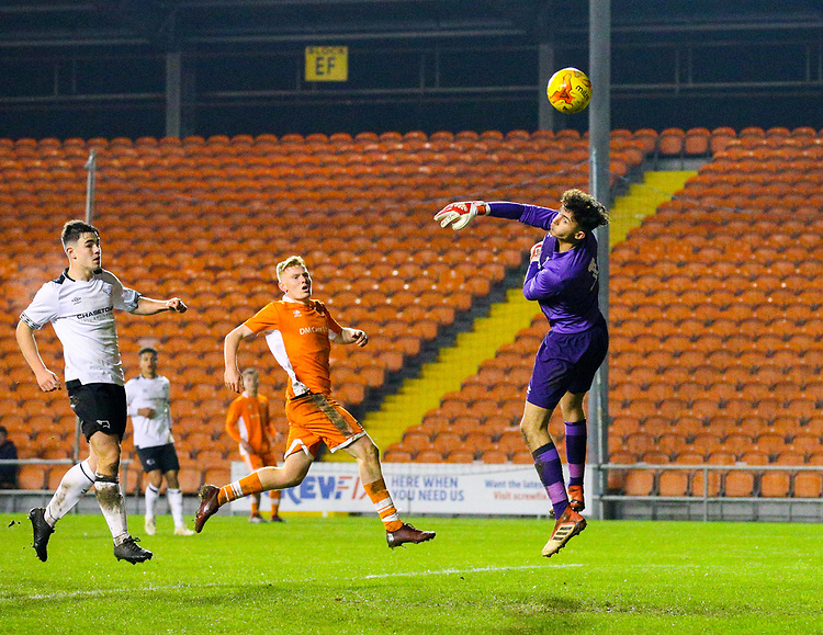 Derby County's Bradley Foster-Theniger makes a save<br /> <br /> Photographer Alex Dodd/CameraSport<br /> <br /> The FA Youth Cup Third Round - Blackpool U18 v Derby County U18 - Tuesday 4th December 2018 - Bloomfield Road - Blackpool<br />  <br /> World Copyright &copy; 2018 CameraSport. All rights reserved. 43 Linden Ave. Countesthorpe. Leicester. England. LE8 5PG - Tel: +44 (0) 116 277 4147 - admin@camerasport.com - www.camerasport.com