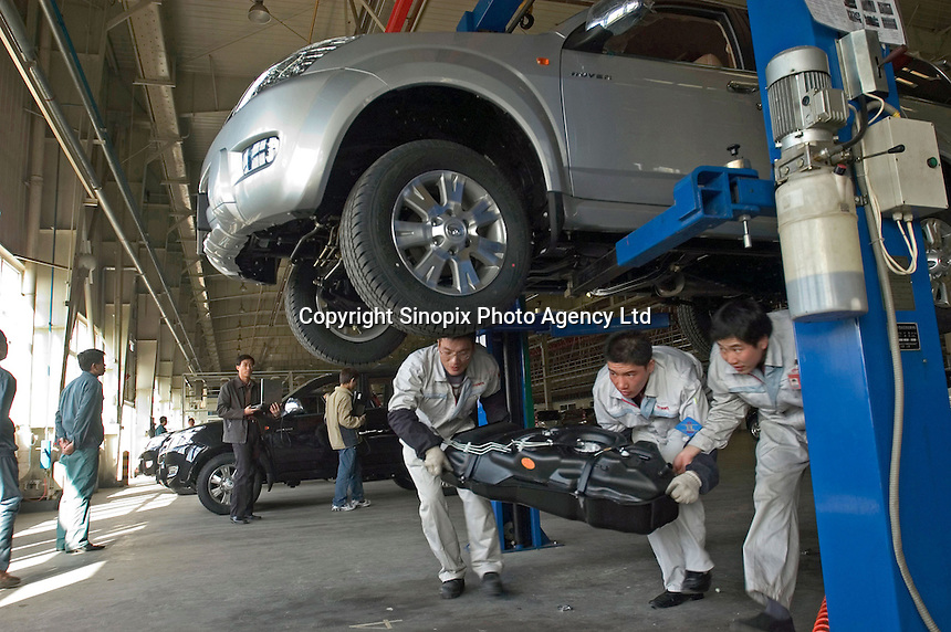 Examine and repair part of assembly line of Hover CUV, a new exportation type of Baoding Great Wall (Changcheng) Automobile, one of China's largest producers of pickup trucks and SUVs. Changcheng exported 10,162 units vehicles in the first 9 months of 2005. The company is listed on the Hong Kong Stock Exchange..