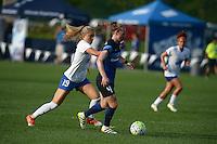 Kansas City, MO - Sunday August 28, 2016: Kristie Mewis, Becky Sauerbrunn during a regular season National Women's Soccer League (NWSL) match between FC Kansas City and the Boston Breakers at Swope Soccer Village.