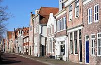 Hoorn. Straatbeeld in het historische centrum, vlakbij de haven