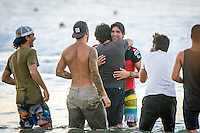 Snapper Rocks, Coolangatta, Queensland Australia. (Tuesday March 11, 2014) Gabriel Medina (BRA) with his father Charlie.–  The swell  was in the 3'-6' range all day and the Quiksilver Pro was completed right on dark with Gabriel Medina (BRA) defeating local favourite Joel Parkinson (AUS) in the 35 minute final. Photo: joliphotos.com