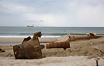 Pipes on the beach and a barge offshore are part of the Army Corp of Engineers work on dune construction on the beach in Mantoloking, New Jersey. (Bill Denver For New York Daily News)