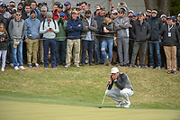Lucas Bjerregaard (DEN) lines up his putt on 18 during day 5 of the WGC Dell Match Play, at the Austin Country Club, Austin, Texas, USA. 3/31/2019.<br /> Picture: Golffile | Ken Murray<br /> <br /> <br /> All photo usage must carry mandatory copyright credit (&copy; Golffile | Ken Murray)