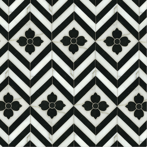Maharaja 1, a hand-cut and waterjet stone mosaic, shown in polished Nero Marquina and honed Calacatta Tia, is part of the Silk Road Collection by Sara Baldwin for New Ravenna Mosaics. <br />