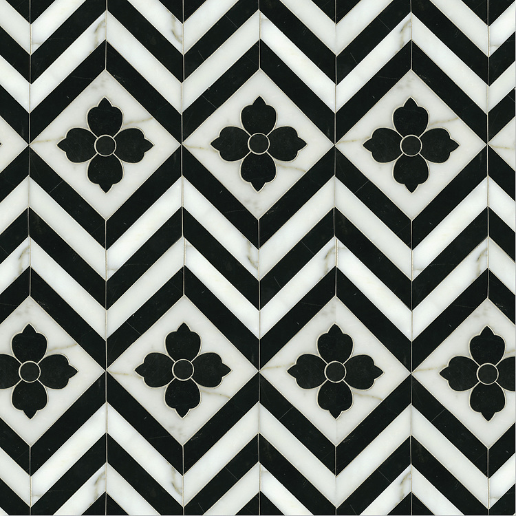 Maharaja 1, a waterjet stone mosaic shown in polished Nero Marquina and honed Calacatta Tia, is part of the Silk Road® collection by New Ravenna.