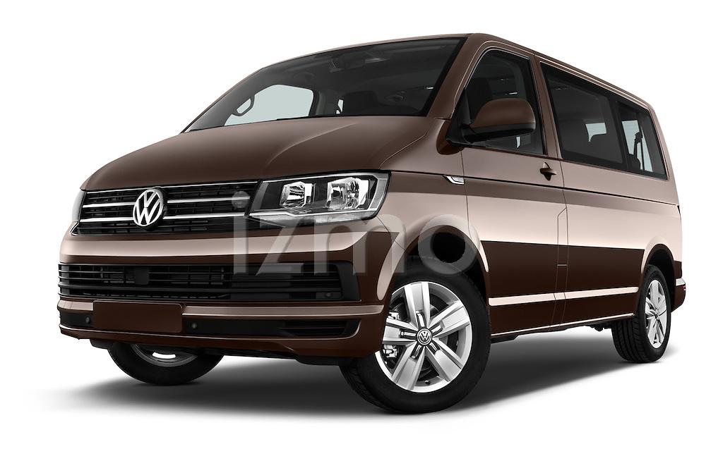 Stock pictures of low aggressive front three quarter view of 2016 Volkswagen Caravelle Comfortline 5 Door Minivan Low Aggressive