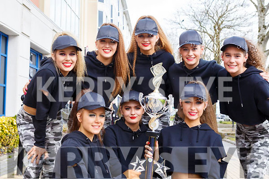 Rebel Storm from Bandon who collected first prise in their category at the Hip Hop dancing finals in the Brandon Hotel on Saturday last. Kneeling l-r, Emma O'Mahoney, Erica Fitzgerald and Aisling O'Shea. Standing l-r, Agatha Boike, Saoirse McCarthy, Ciara O'Shea, Olivia and Nicola Tuthill.