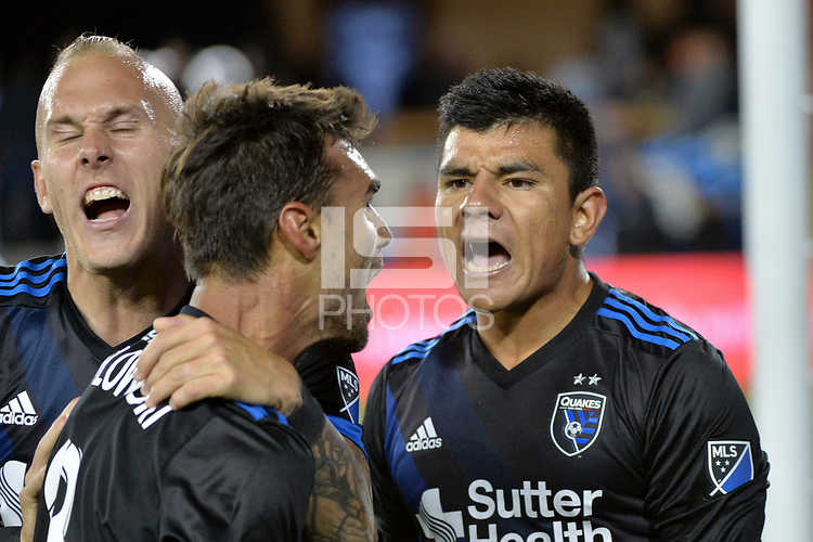 San Jose, CA - Saturday June 09, 2018: Chris Wondolowski, Nick Lima during a Major League Soccer (MLS) match between the San Jose Earthquakes and Los Angeles Football Club at Avaya Stadium.