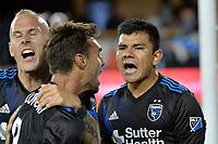 San Jose, CA - Saturday June 09, 2018: Chris Wondolowski, Nick Lima during a Major League Soccer (MLS) match between the San Jose Earthquakes and Los Angeles Football Club at Avaya Stadium.