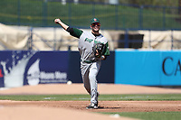 Fort Wayne TinCaps third baseman Hudson Potts (20) makes a throw to first base against the West Michigan Michigan Whitecaps during the Midwest League baseball game on April 26, 2017 at Fifth Third Ballpark in Comstock Park, Michigan. West Michigan defeated Fort Wayne 8-2. (Andrew Woolley/Four Seam Images)