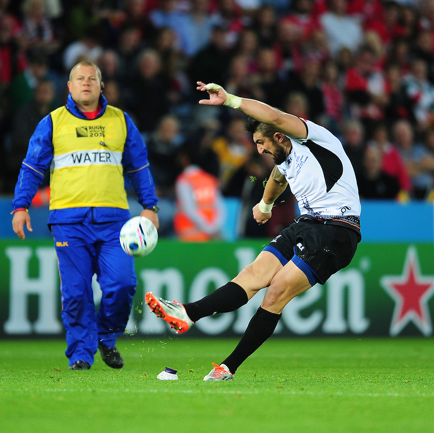 Romania's Florin Vlaicu successfully converts his sides second try<br /> <br /> Photographer Chris Vaughan/CameraSport<br /> <br /> Rugby Union - 2015 Rugby World Cup Pool D - Canada v Romania - Tue 6 October 2015 - King Power Stadium, Leicester <br /> <br /> &copy; CameraSport - 43 Linden Ave. Countesthorpe. Leicester. England. LE8 5PG - Tel: +44 (0) 116 277 4147 - admin@camerasport.com - www.camerasport.com