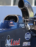 Feb 12, 2016; Pomona, CA, USA; NHRA top alcohol dragster driver Krista Baldwin during qualifying for the Winternationals at Auto Club Raceway at Pomona. Mandatory Credit: Mark J. Rebilas-USA TODAY Sports