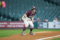 Jake Mangum (15) of the Mississippi State Bulldogs takes his lead off of third base against the Louisiana Ragin' Cajuns in game three of the 2018 Shriners Hospitals for Children College Classic at Minute Maid Park on March 2, 2018 in Houston, Texas.  The Bulldogs defeated the Ragin' Cajuns 3-1.   (Brian Westerholt/Four Seam Images)