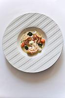 Europe/France/Bretagne/56/Morbihan/Saint-Avé:  Langoustines rôties à la fleur de Thym, croquant de sésame méli-mélo de petits légumes en nage de Kari Gosse, recette de Vincent David du restaurant: Le Pressoir