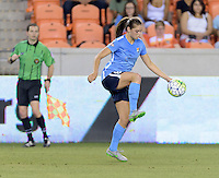 Houston, TX - Friday April 29, 2016: Erica Skroski (8) of Sky Blue FC gains control of a loose ball against the Houston Dash at BBVA Compass Stadium. The Houston Dash tied Sky Blue FC 0-0.