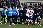 Atletico de Madrid´s players argue with Barcelona´s players during Copa del Rey `Spanish King Cup´ soccer match at Vicente Calderon stadium in Madrid, Spain. January 28, 2015. (ALTERPHOTOS/Victor Blanco)