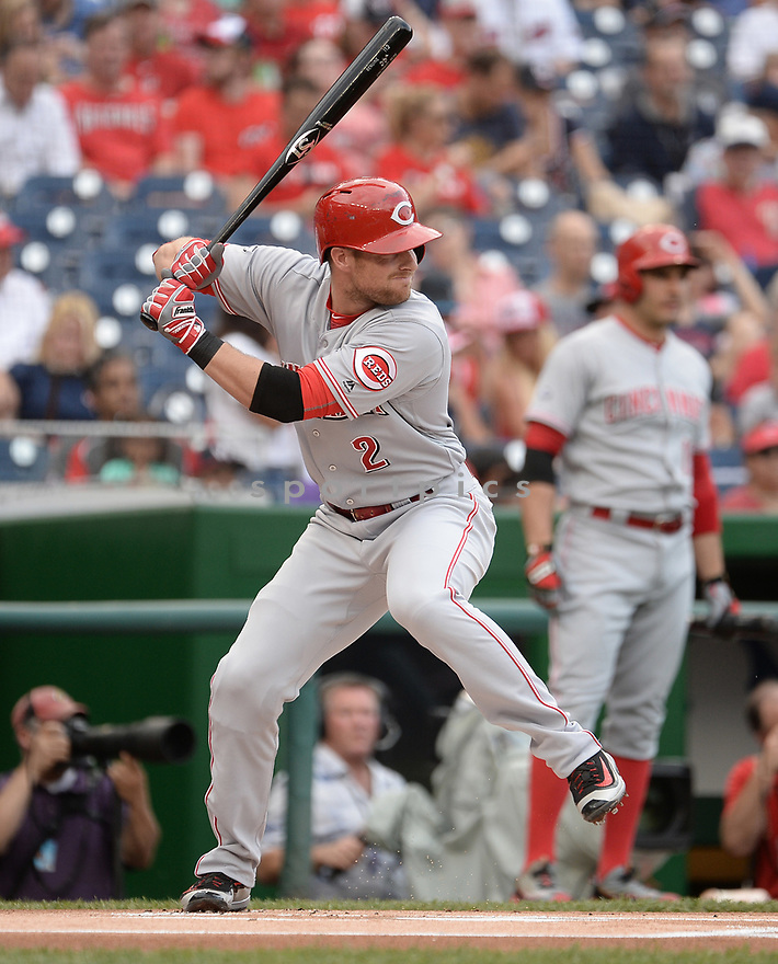 CIncinnati Reds Zack Cozart (2) during a game against the Washington Nationals on July 1, 2016 at Nationals Park in Washington DC. The Nationals beat the Reds 3-2.