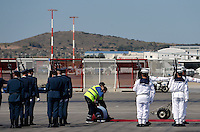 Pictured: The red carpet is rolled out Friday 27 May 2016<br /> Re: Russian President Vladimir Putin arrives at Eleftherios Venizelos Airport near Athens, Greece