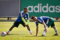 SÃO PAULO,SP,19 JULHO 2013 - TREINO PALMEIRAS -  Ananias (e) e Marcelo Oliveira durante treino do Palmeiras no CT da Barra Funda, zona oeste de Sao Paulo,na manhã sexta feira.O time se prepara para o jogo contra o Figueirense em Florianopolis no sabado (20).FOTO ALE VIANNA - BRAZIL PHOTO PRESS.