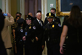 United States Vice President Mike Pence arrives to the United States Capitol in Washington D.C., U.S., on Tuesday, December 3, 2019, for a bipartisan luncheon honoring retiring United States Senator Johnny Isakson (Republican of Georgia).<br /> <br /> Credit: Stefani Reynolds / CNP
